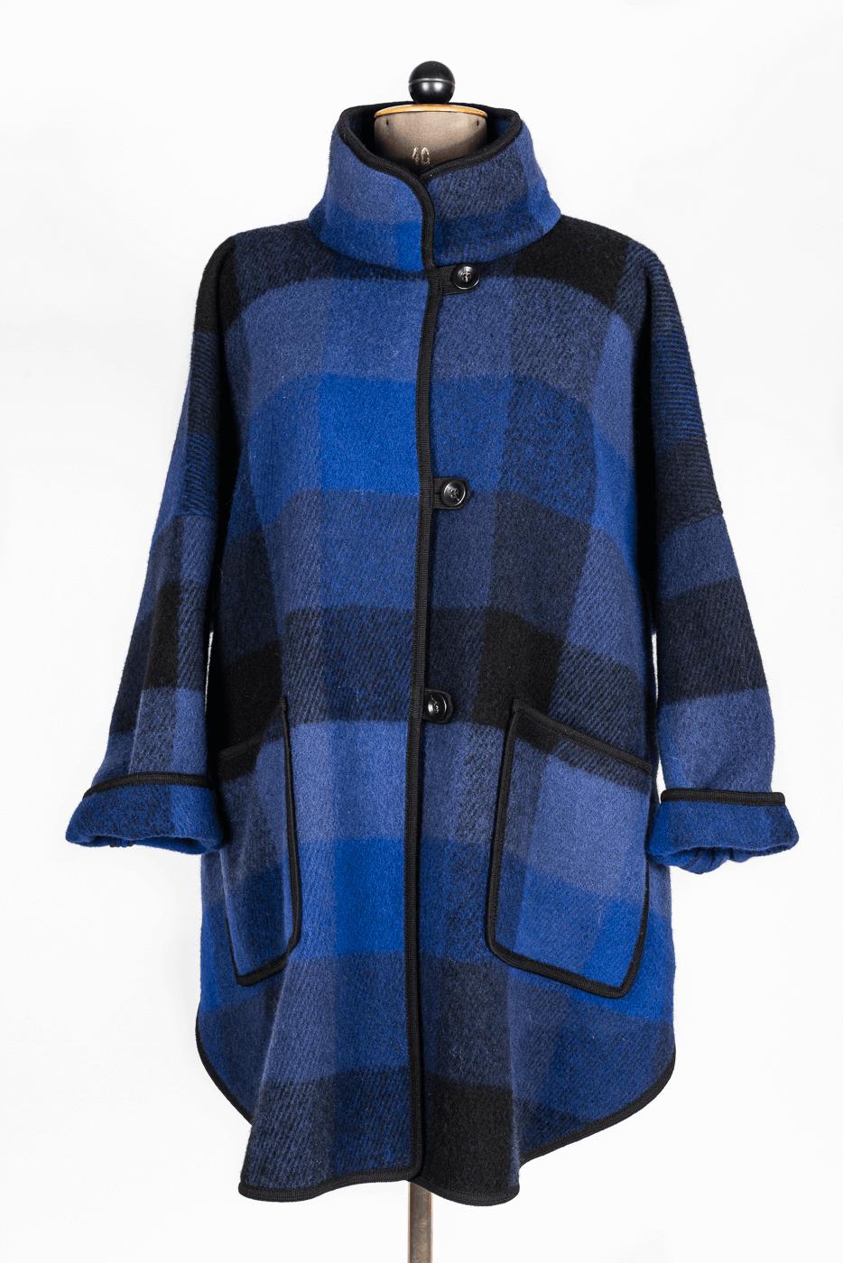Wollmantel, blau