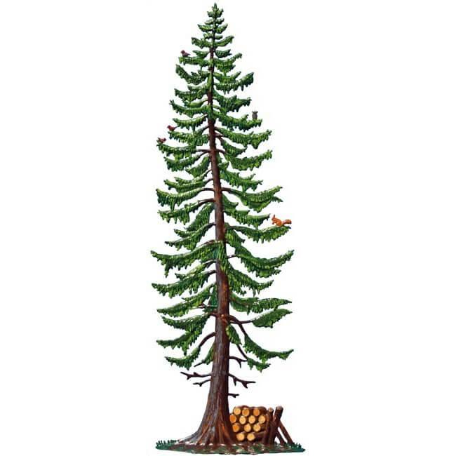 Fichte mit Holzlager