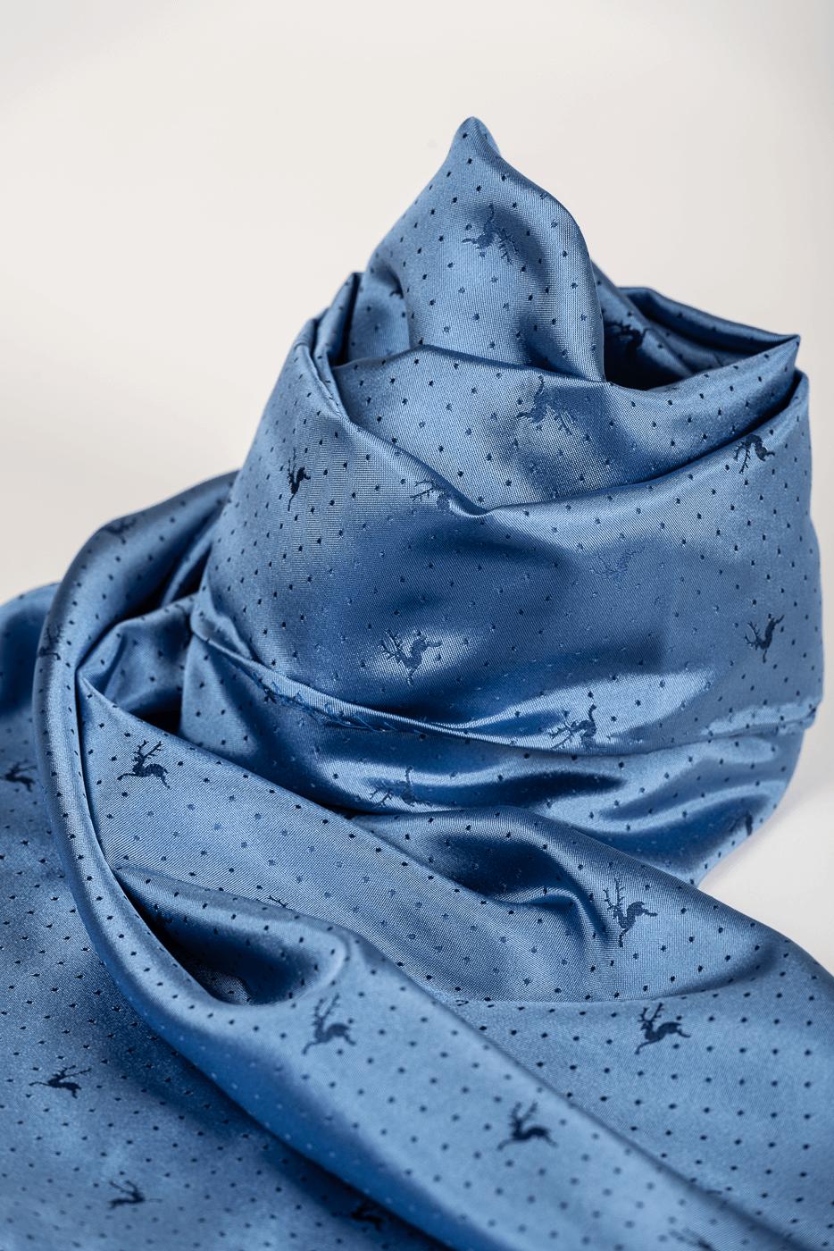 Schal mit Punkten und Hirschen, blau/blau