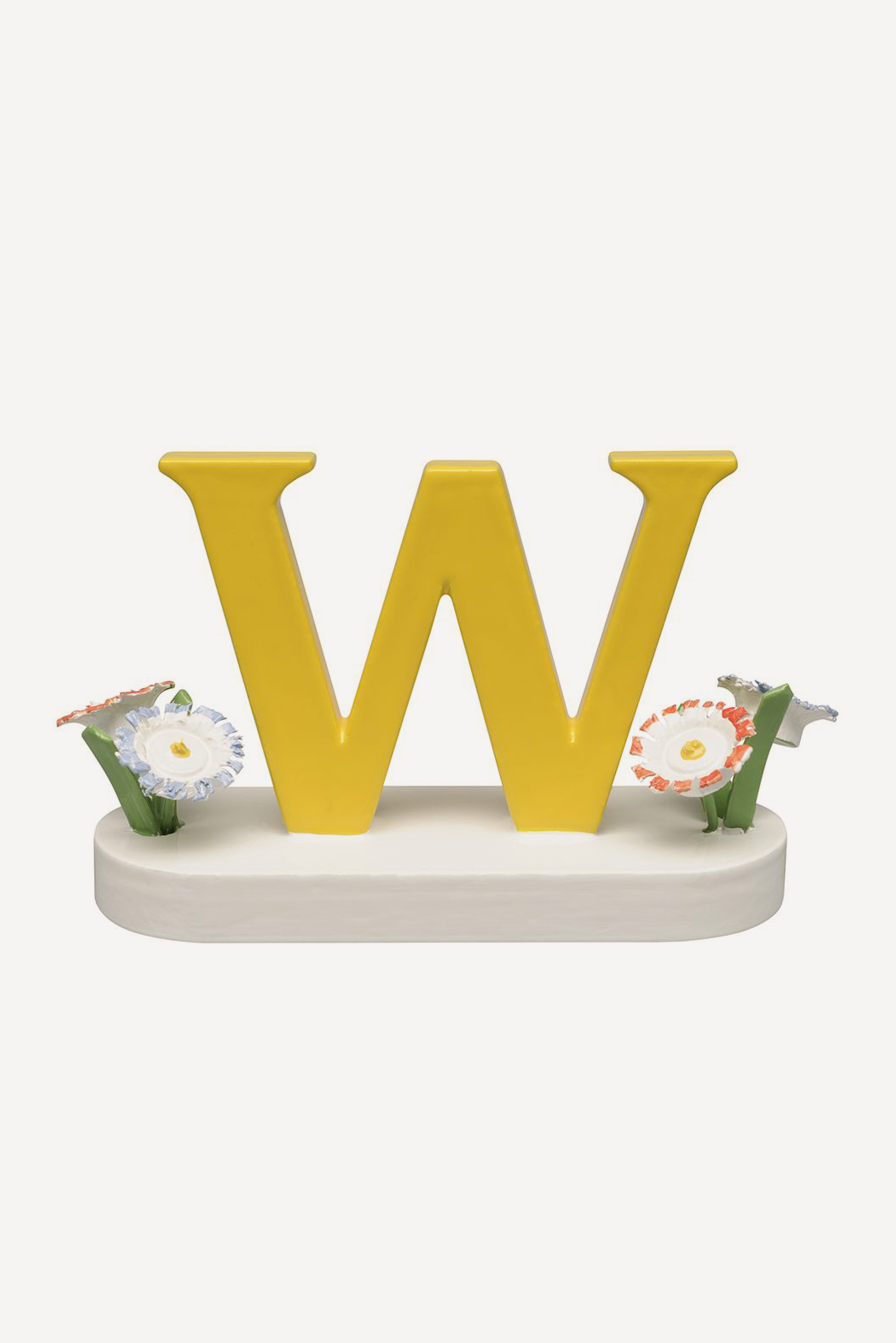 Buchstabe W, mit Blumen