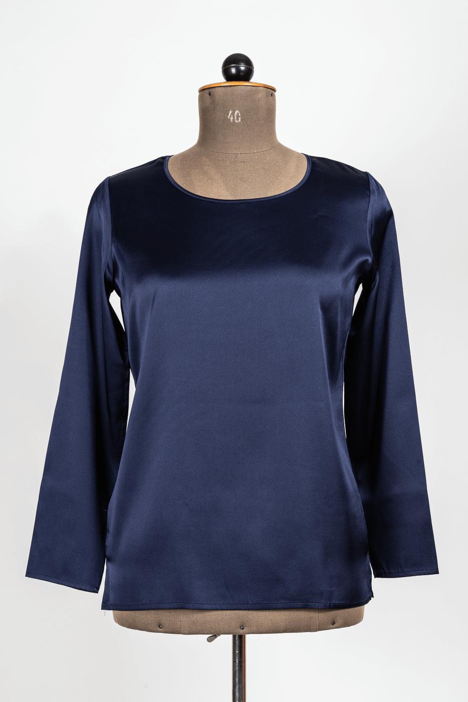 Shirt, Seide, blau