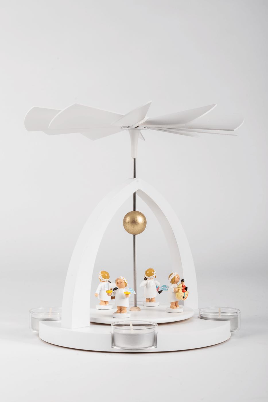 Teelichtpyramide / Margeritenengel, stehend - Set