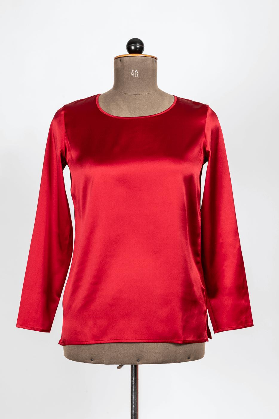 Shirt, Seide, rot