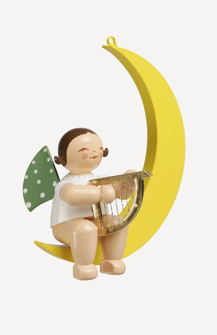 Engel mit Harfe, im Mond