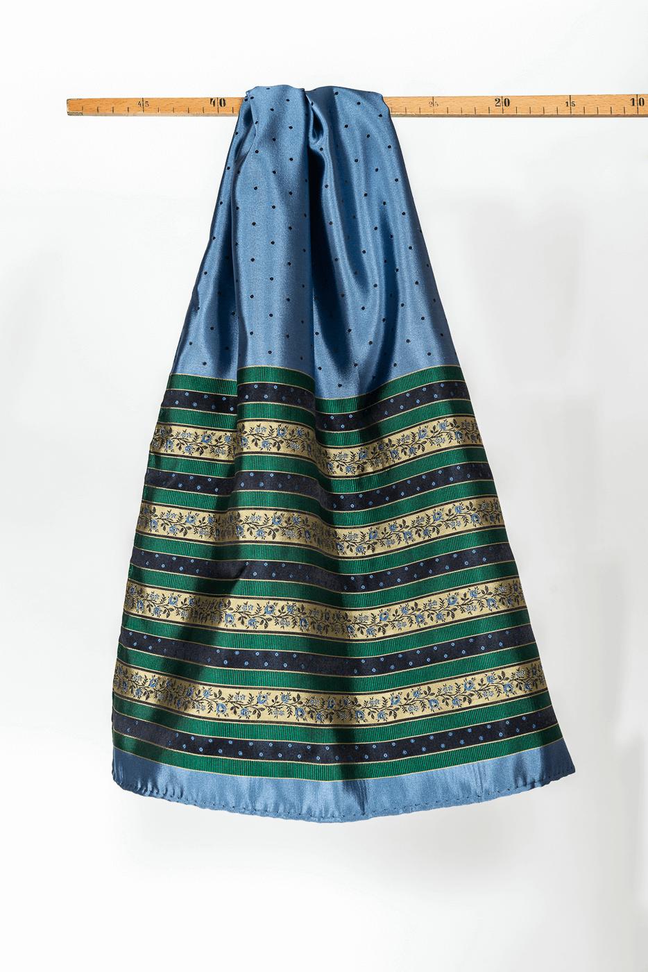 Schal mit Tupfen und grün/blauer Borte, blau