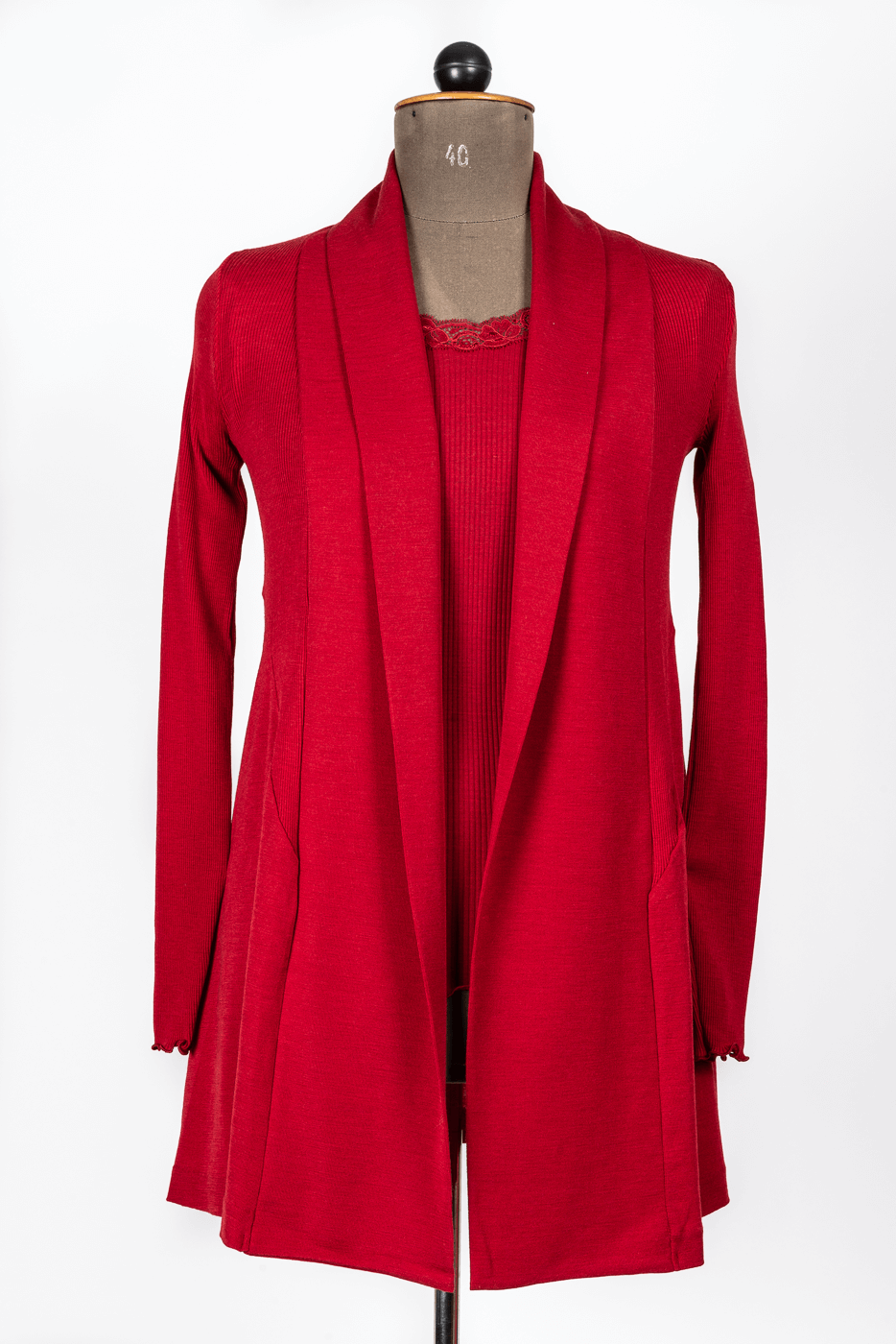 Shirt mit Spitzenkragen, rot