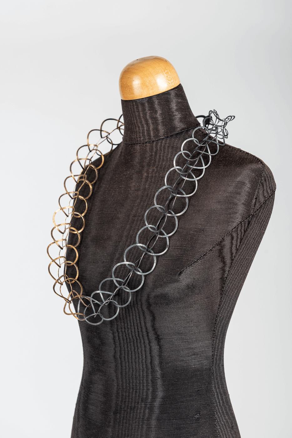 Halskette, gold-schwarz