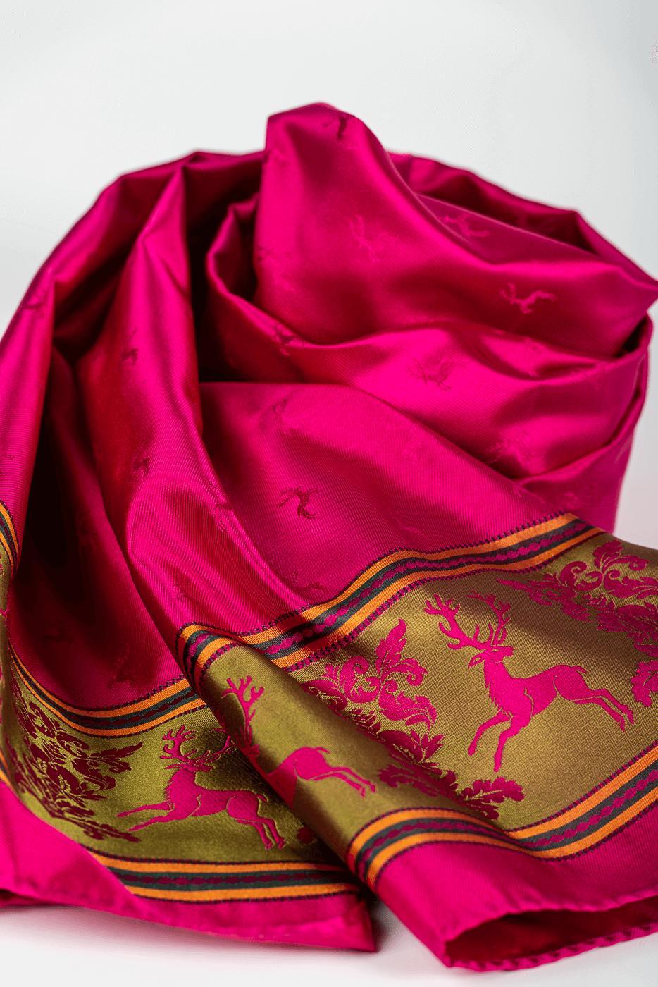 Schal mit grüner Borte und Hirschen, fuchsia/pink