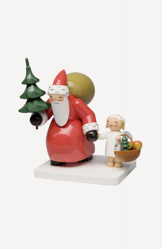 aWeihnachtsmann mit Baum und Engel