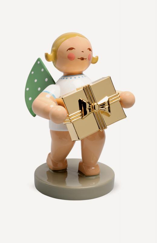 aGratulant, Engel mit Geschenk, vergoldet - Goldedition No.7