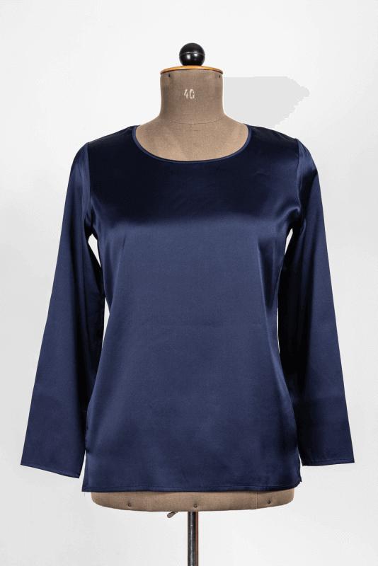 aShirt, Seide, blau