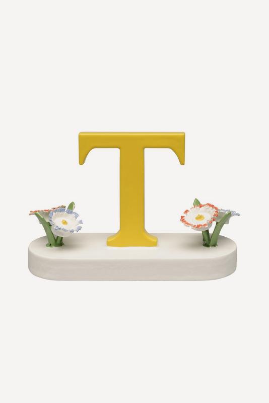 aBuchstabe T, mit Blumen