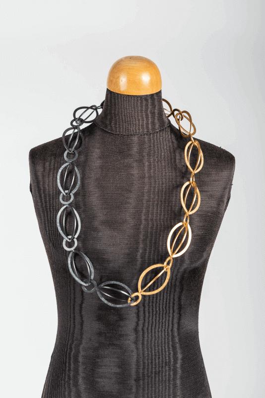aHalskette lang, gold-schwarz