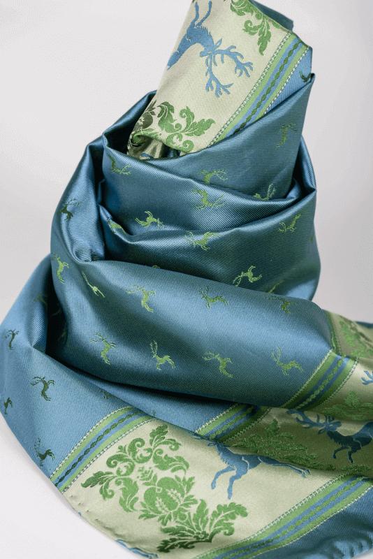 aSchal mit Hirschen, blau/grün