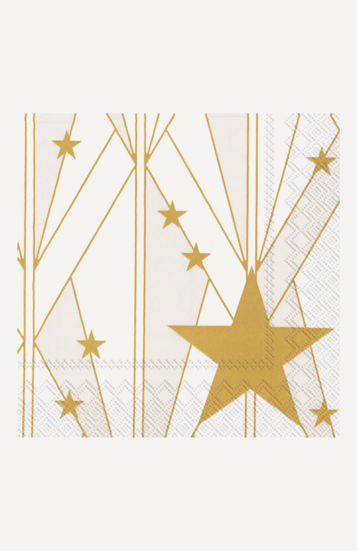 aLunch Servietten, Artdeco Big Star Gold