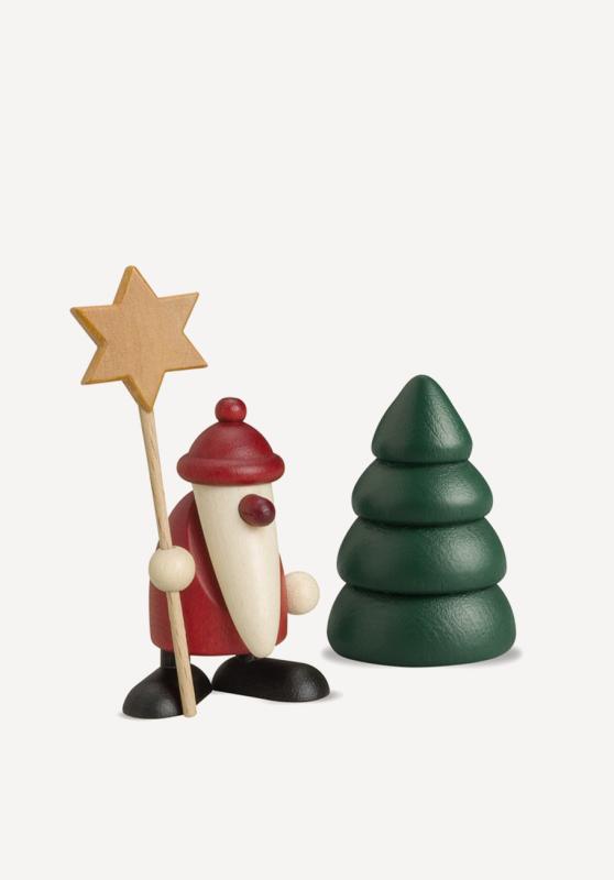 aMiniaturset - Weihnachtsmann mit Stern und Baum