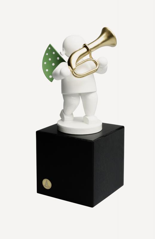 aEngel mit Basstrompete auf Sockel