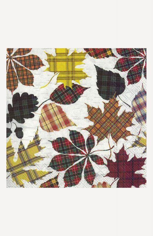 aLunch-Servietten, checkered leaves, ihr