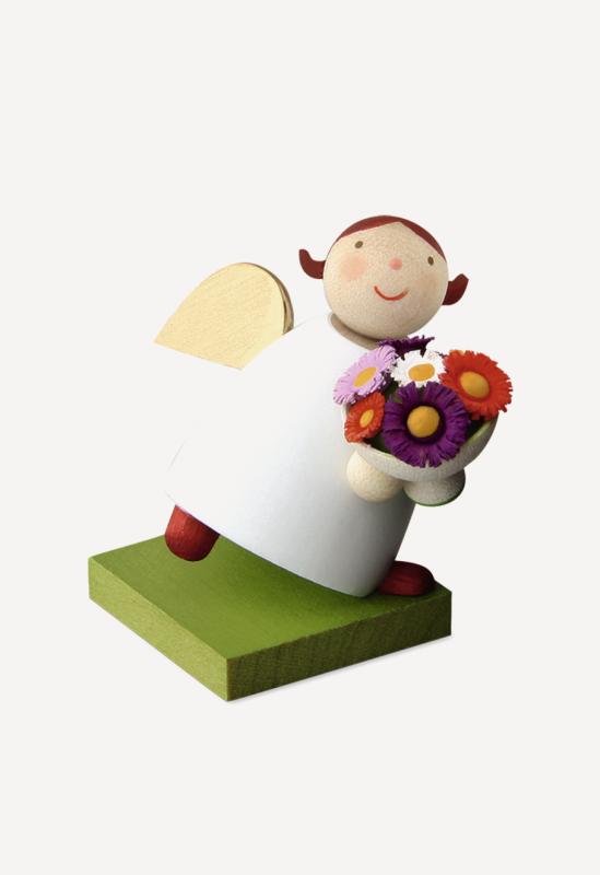 aSchutzengel® mit Blumenstrauß, weiß
