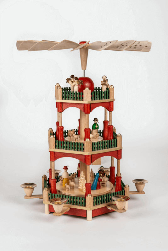 aPyramide Christi Geburt, bunt gebeizt, 2-stöckig