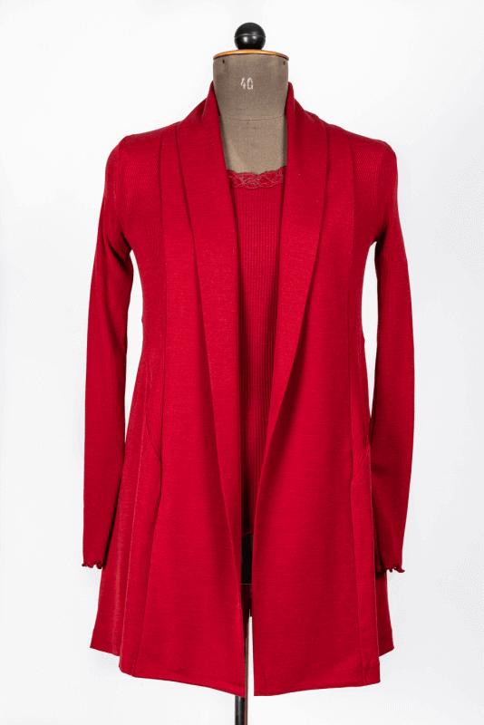 aShirt mit Spitzenkragen, rot