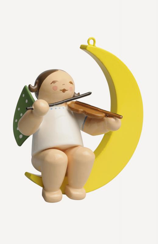 aEngel mit Geige, im Mond